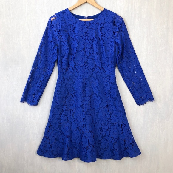 J. Crew Dresses & Skirts - J. Crew long sleeve dress in floral lace cobalt 6